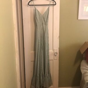 Forever 21 green stripe cut out back maxi